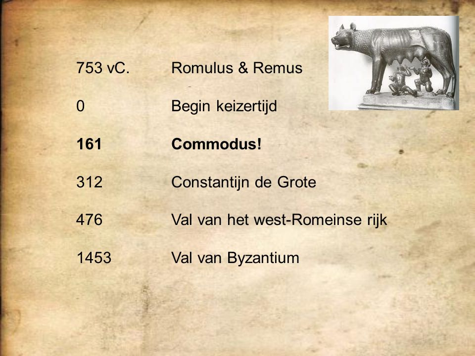 753 vC. Romulus & Remus 0 Begin keizertijd. 161 Commodus! 312 Constantijn de Grote. 476 Val van het west-Romeinse rijk.