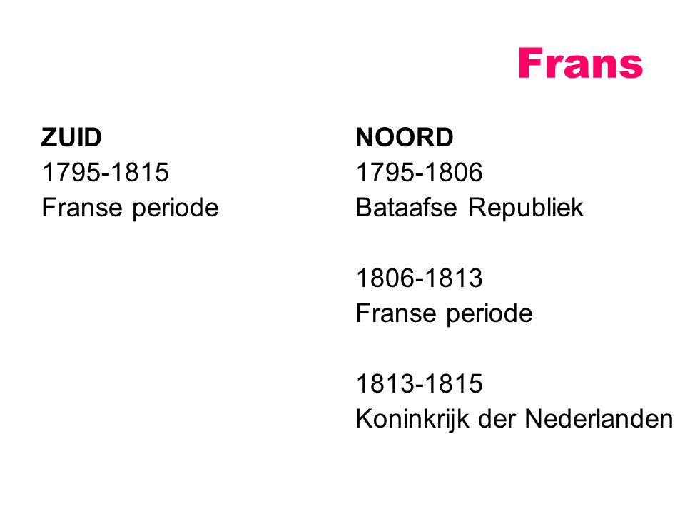 Frans ZUID 1795-1815 Franse periode NOORD 1795-1806 Bataafse Republiek