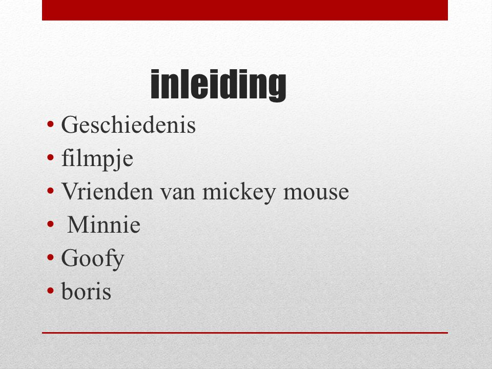 inleiding Geschiedenis filmpje Vrienden van mickey mouse Minnie Goofy
