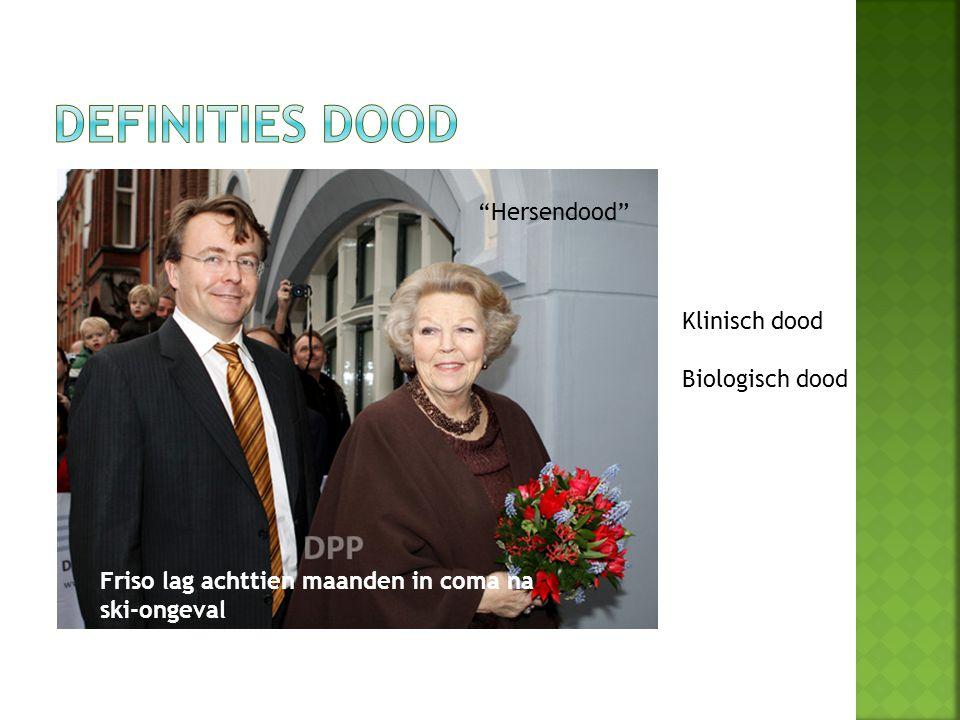 Definities Dood Klinisch dood Biologish dood Hersendood Hersendood
