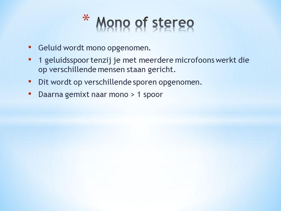 Mono of stereo Geluid wordt mono opgenomen.