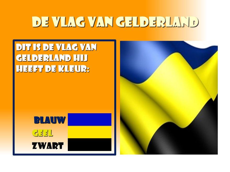 De vlag van Gelderland DIT IS DE VLAG VAN GELDERLAND HIJ HEEFT DE KLEUR: Blauw geel zwart