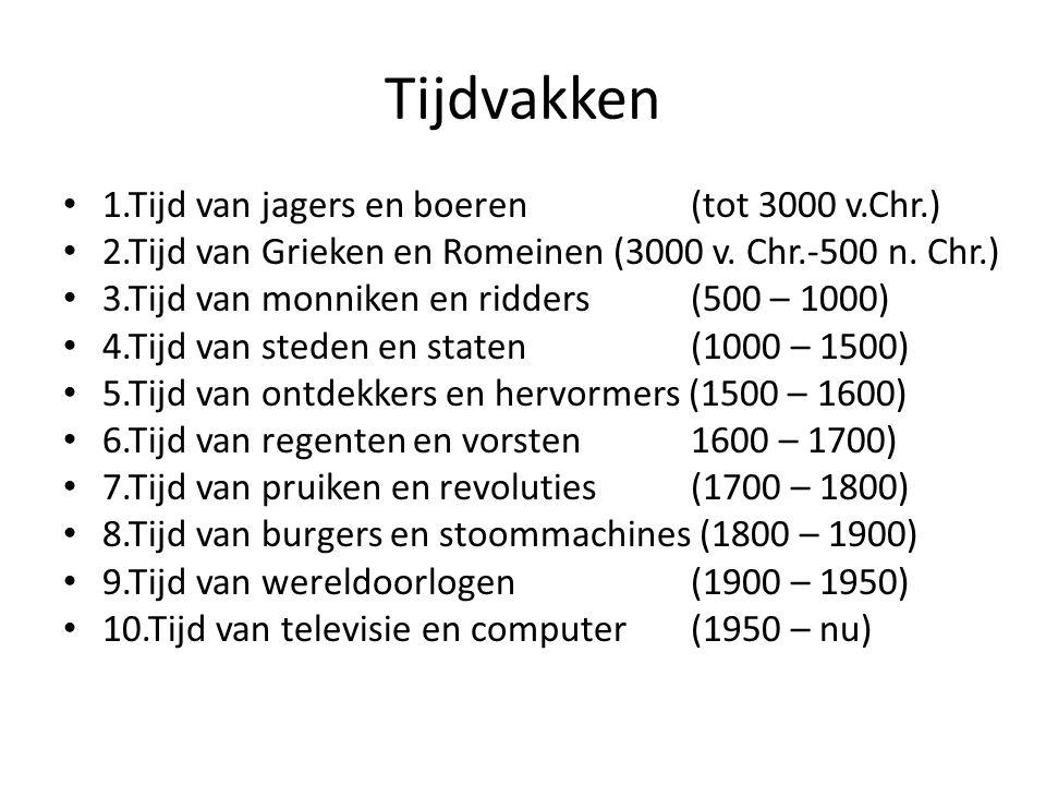 Tijdvakken 1.Tijd van jagers en boeren (tot 3000 v.Chr.)