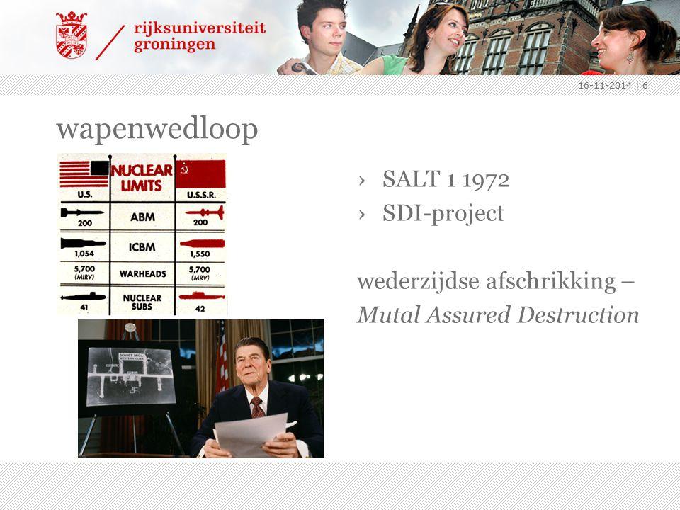 wapenwedloop SALT 1 1972 SDI-project wederzijdse afschrikking –