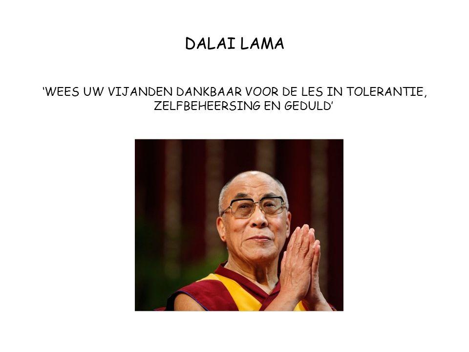 DALAI LAMA 'WEES UW VIJANDEN DANKBAAR VOOR DE LES IN TOLERANTIE, ZELFBEHEERSING EN GEDULD'