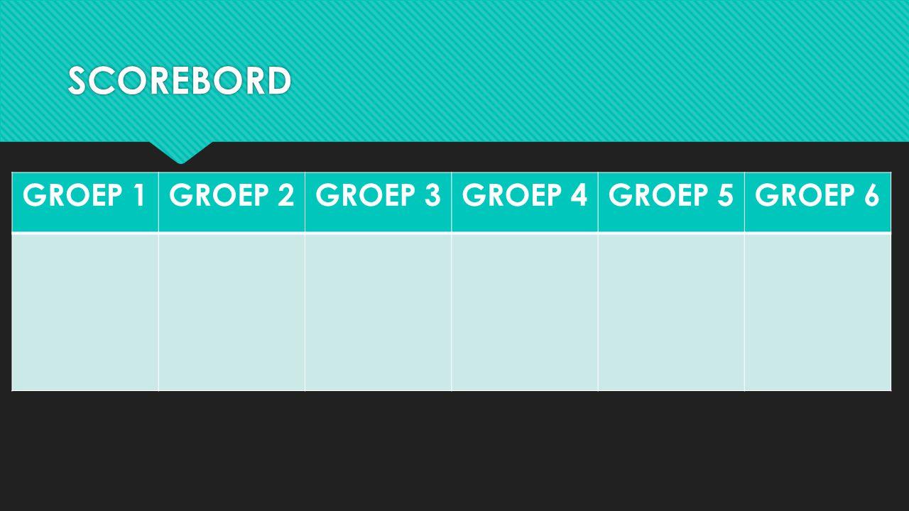 SCOREBORD GROEP 1 GROEP 2 GROEP 3 GROEP 4 GROEP 5 GROEP 6
