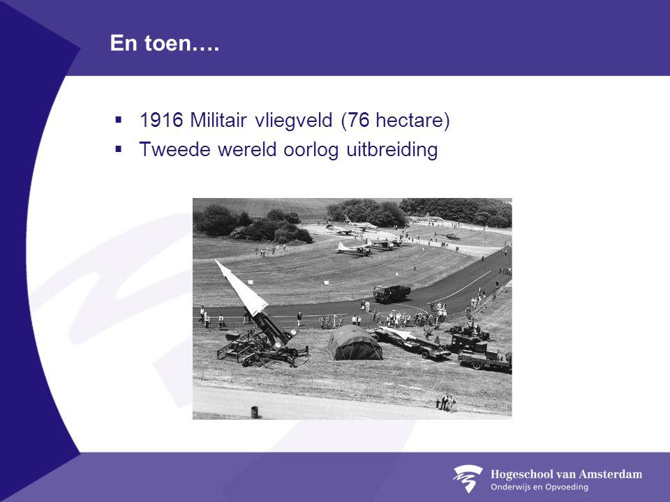 En toen…. 1916 Militair vliegveld (76 hectare)