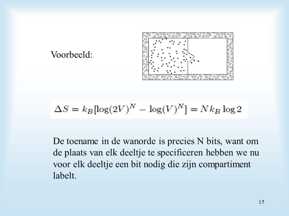 Voorbeeld: De toename in de wanorde is precies N bits, want om. de plaats van elk deeltje te specificeren hebben we nu.