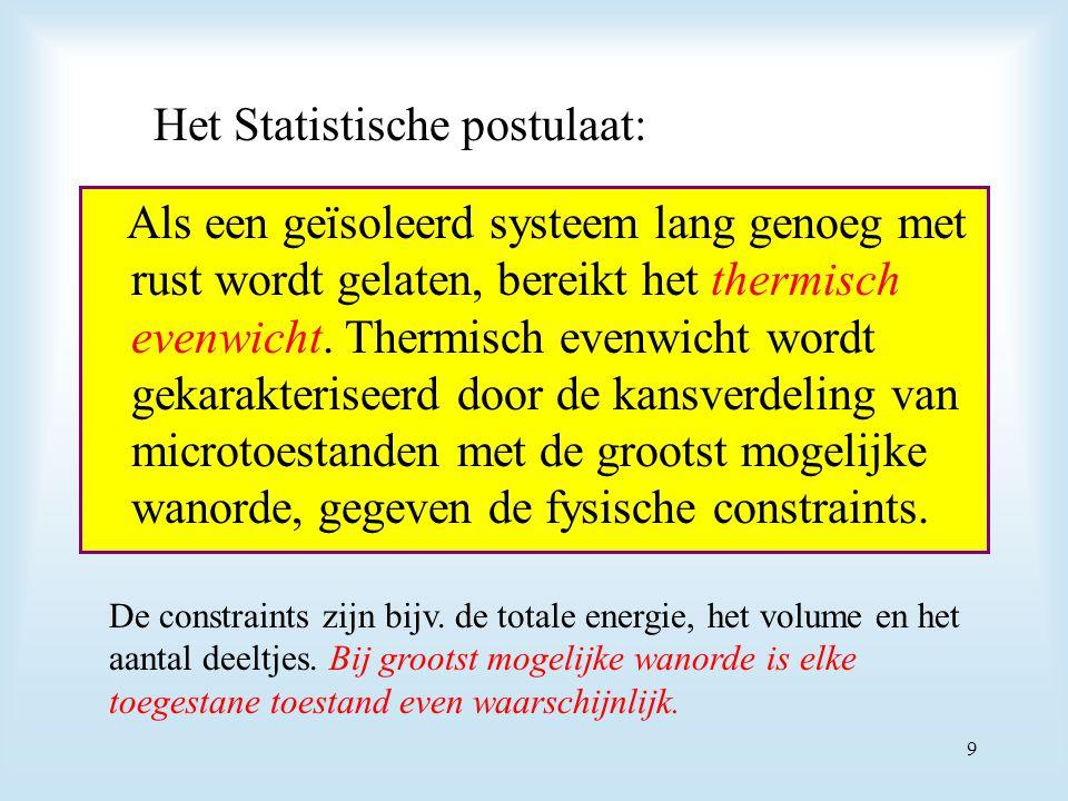 Het Statistische postulaat: