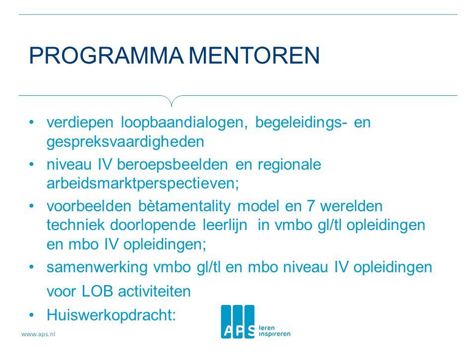 Programma mentoren verdiepen loopbaandialogen, begeleidings- en gespreksvaardigheden.