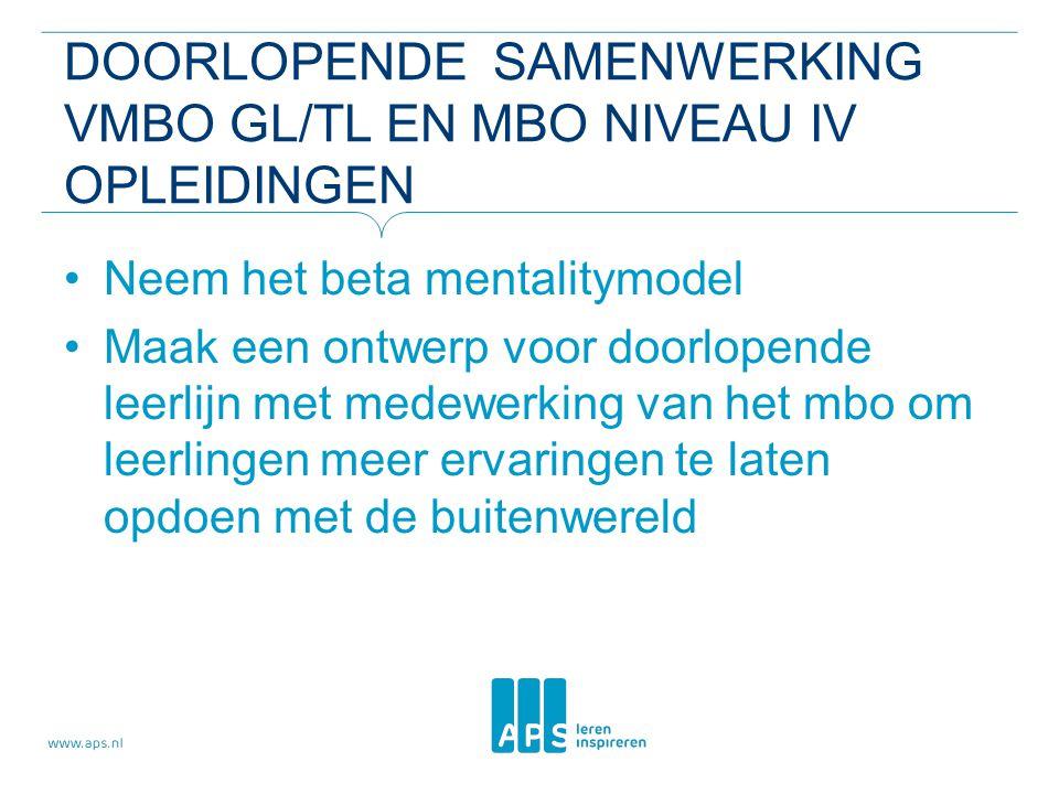 DOorlopende samenwerking vmbo gl/tl en mbo niveau IV opleidingen