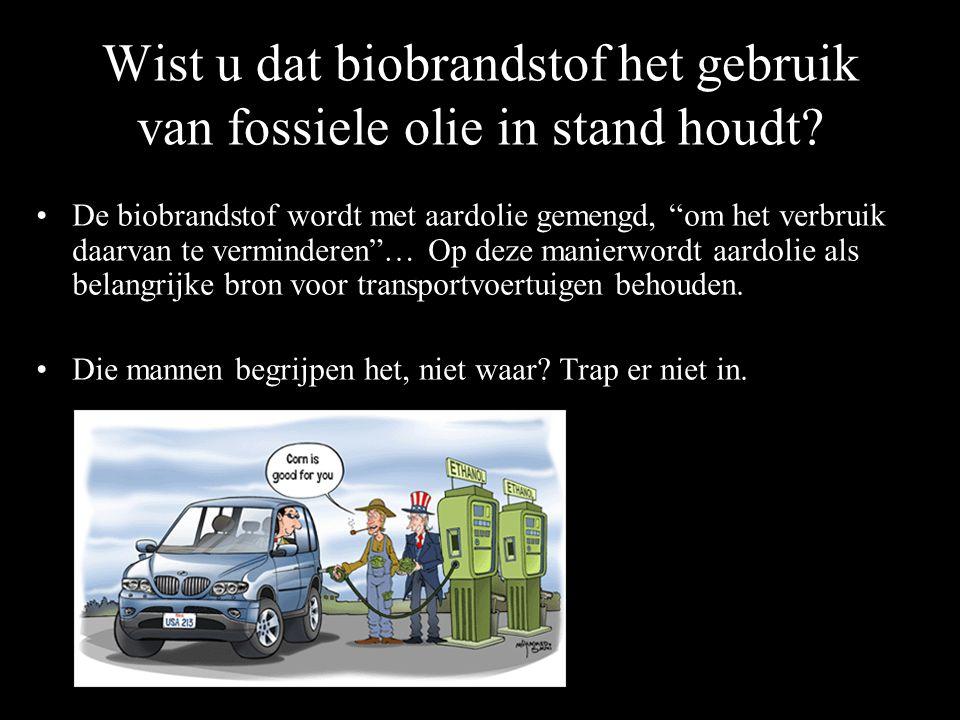 Wist u dat biobrandstof het gebruik van fossiele olie in stand houdt