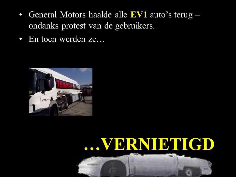 General Motors haalde alle EV1 auto's terug – ondanks protest van de gebruikers.