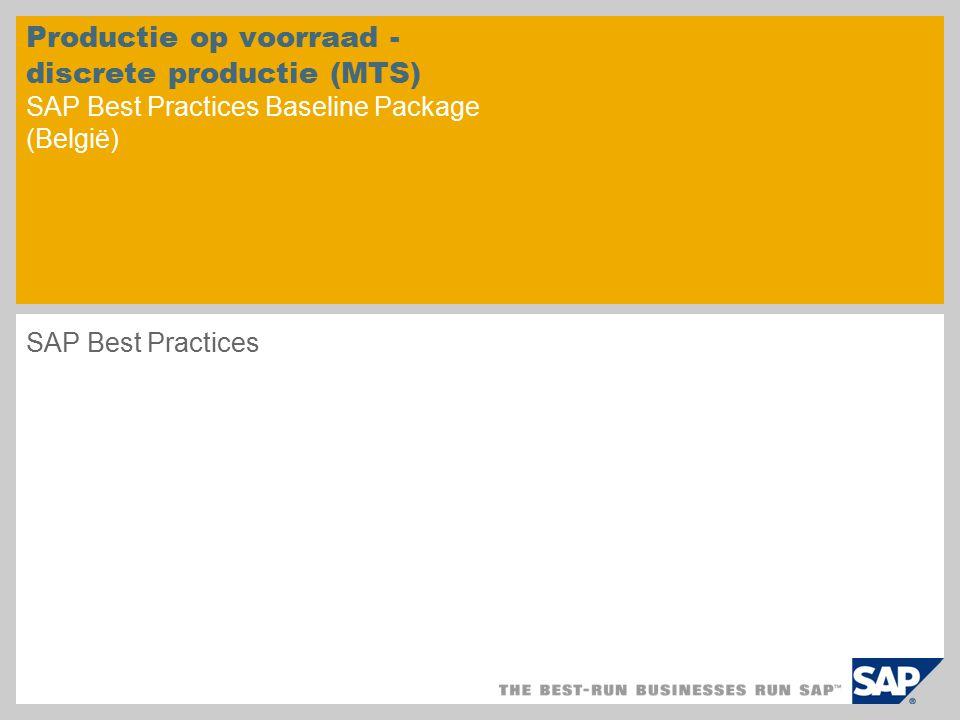 Productie op voorraad - discrete productie (MTS) SAP Best Practices Baseline Package (België)