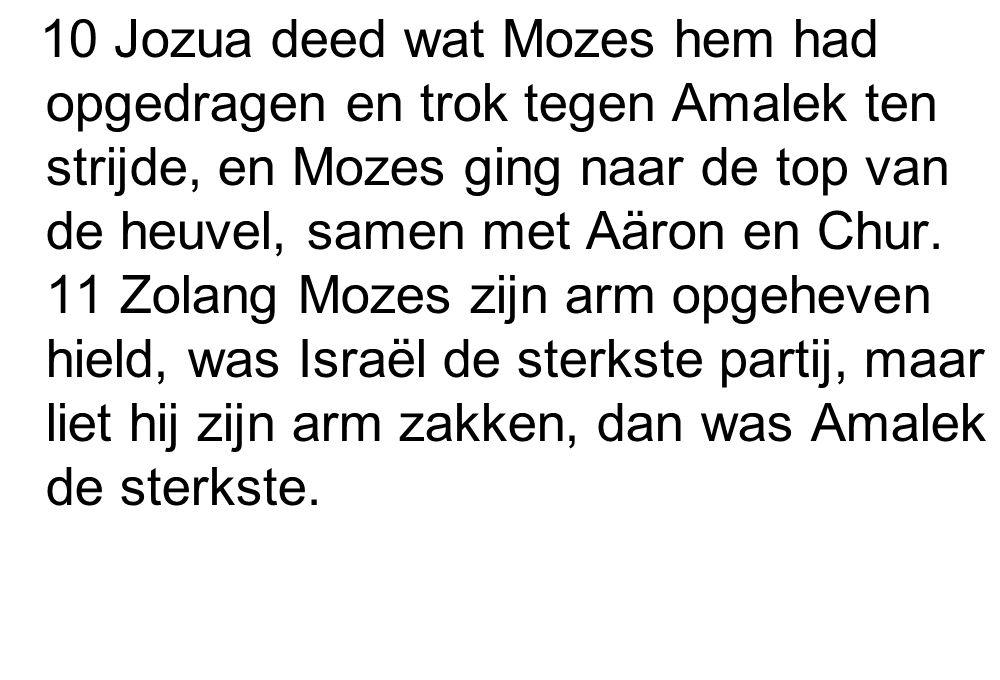 10 Jozua deed wat Mozes hem had opgedragen en trok tegen Amalek ten strijde, en Mozes ging naar de top van de heuvel, samen met Aäron en Chur.
