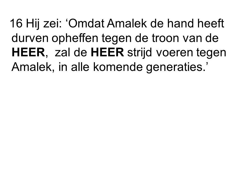 16 Hij zei: 'Omdat Amalek de hand heeft durven opheffen tegen de troon van de HEER, zal de HEER strijd voeren tegen Amalek, in alle komende generaties.'