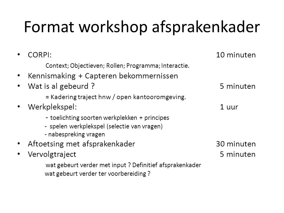 Format workshop afsprakenkader