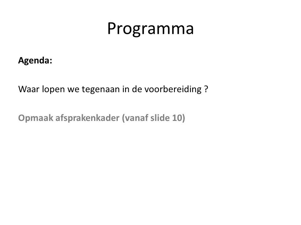Programma Agenda: Waar lopen we tegenaan in de voorbereiding .