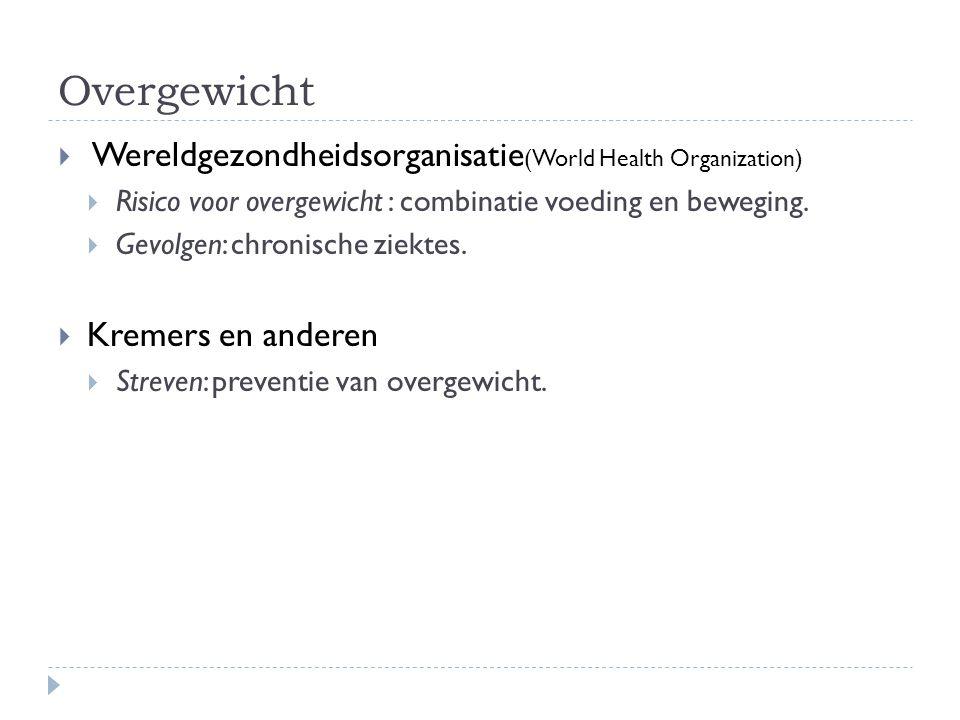 Overgewicht Wereldgezondheidsorganisatie(World Health Organization)