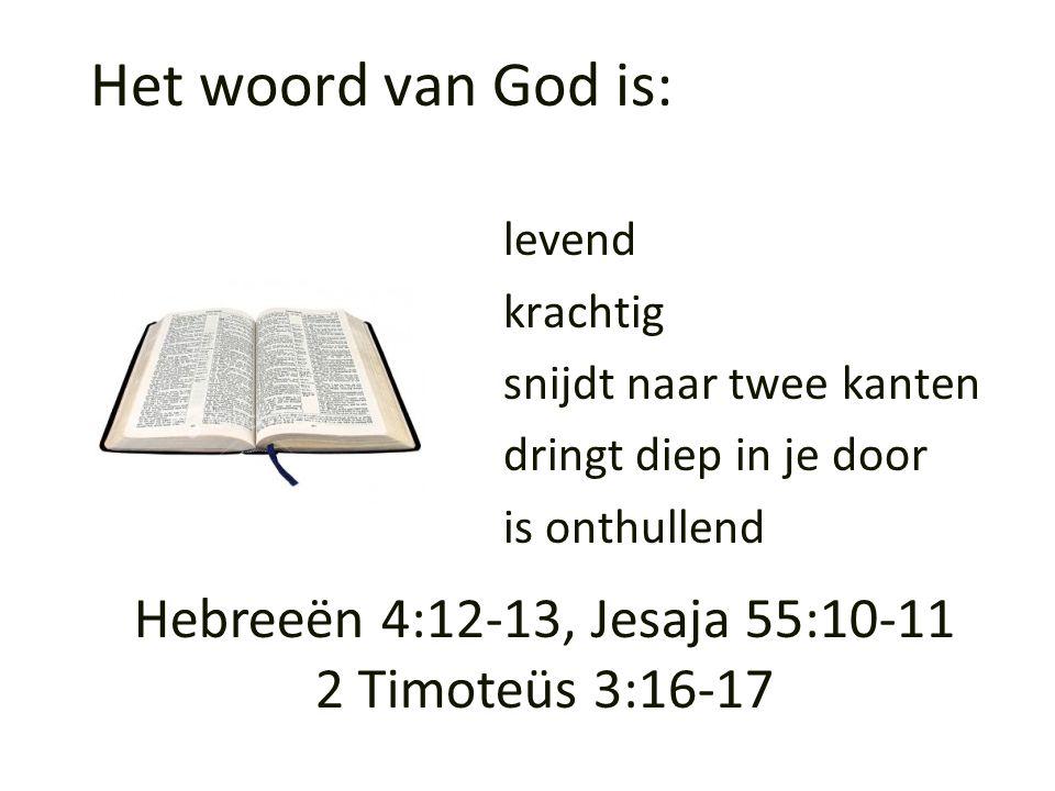 Hebreeën 4:12-13, Jesaja 55:10-11 2 Timoteüs 3:16-17