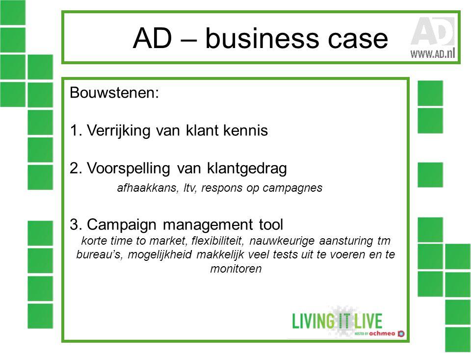 AD – business case Bouwstenen: 1. Verrijking van klant kennis