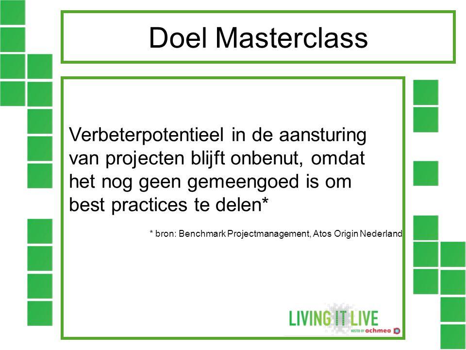 Doel Masterclass Verbeterpotentieel in de aansturing van projecten blijft onbenut, omdat het nog geen gemeengoed is om best practices te delen*
