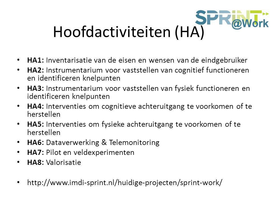 Hoofdactiviteiten (HA)