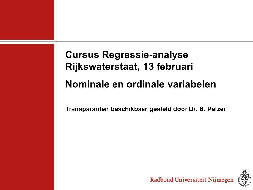 Cursus Regressie-analyse Rijkswaterstaat, 13 februari