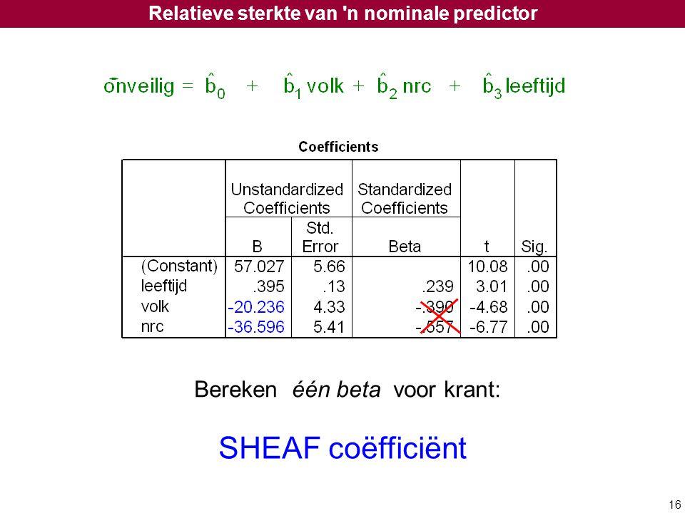 Relatieve sterkte van n nominale predictor