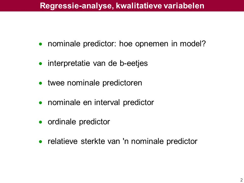 Regressie-analyse, kwalitatieve variabelen