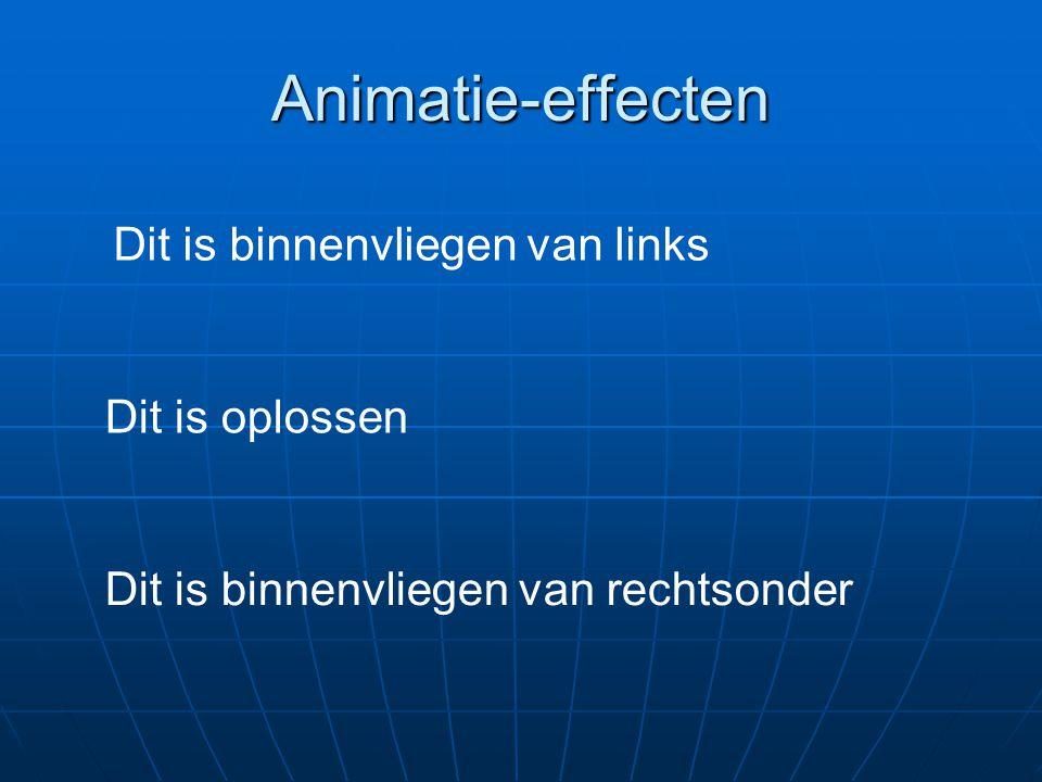 Animatie-effecten Dit is binnenvliegen van links Dit is oplossen