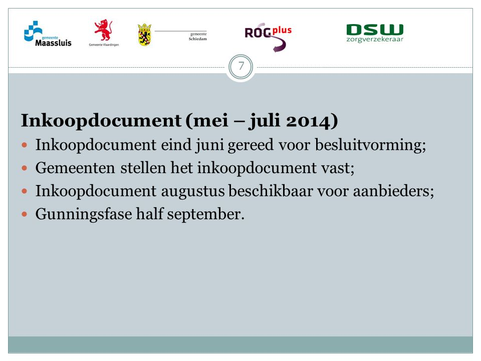 Inkoopdocument (mei – juli 2014)