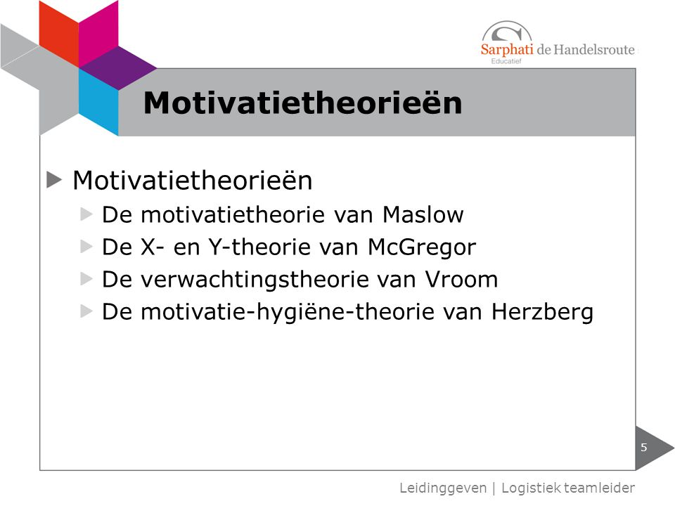 Motivatietheorieën Motivatietheorieën De motivatietheorie van Maslow