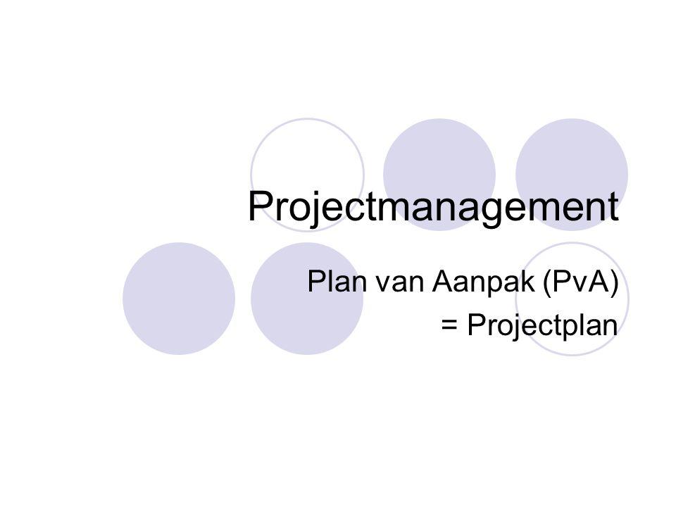 Plan van Aanpak (PvA) = Projectplan