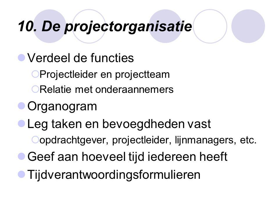 10. De projectorganisatie