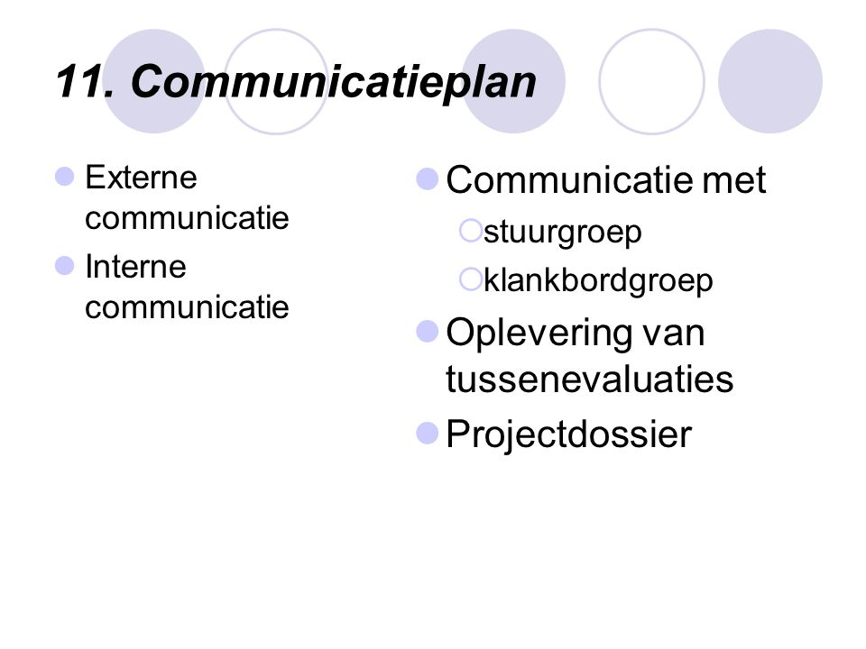 11. Communicatieplan Communicatie met Oplevering van tussenevaluaties