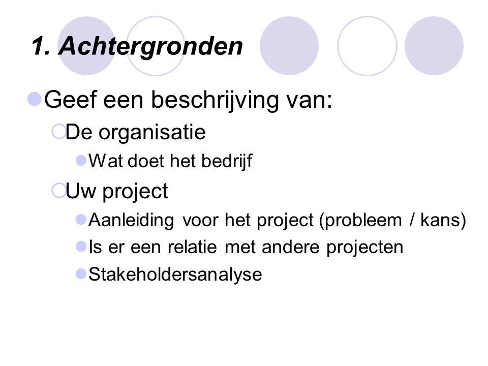 1. Achtergronden Geef een beschrijving van: De organisatie Uw project