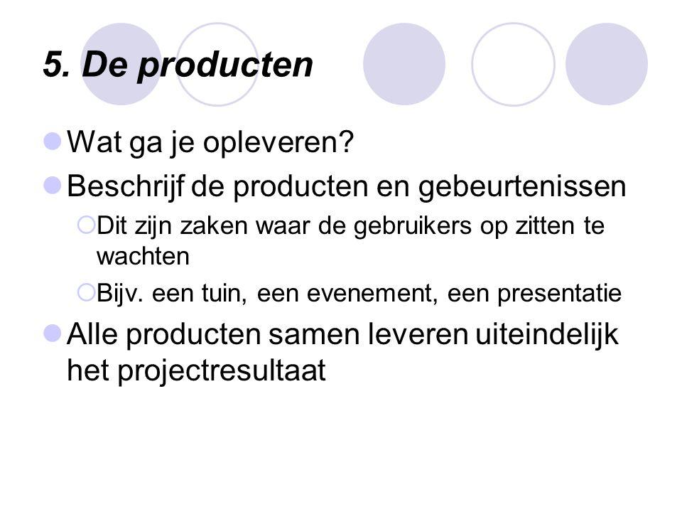 5. De producten Wat ga je opleveren
