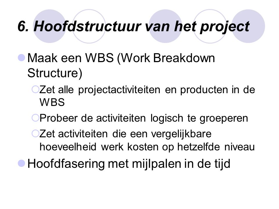 6. Hoofdstructuur van het project