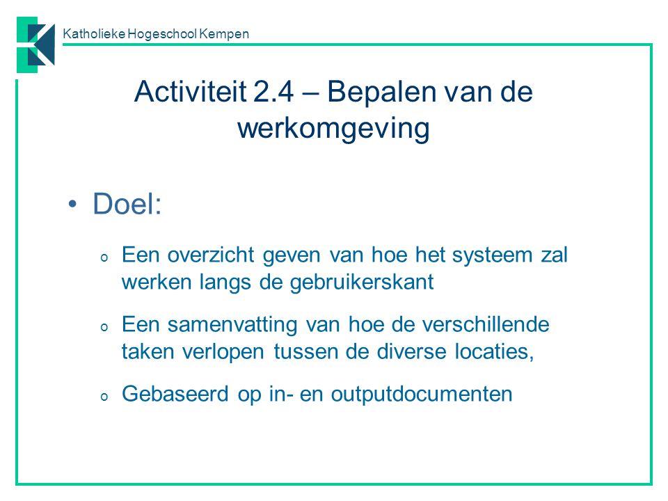 Activiteit 2.4 – Bepalen van de werkomgeving
