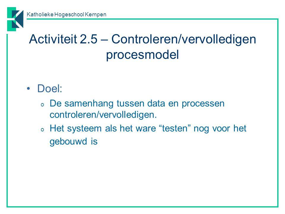 Activiteit 2.5 – Controleren/vervolledigen procesmodel