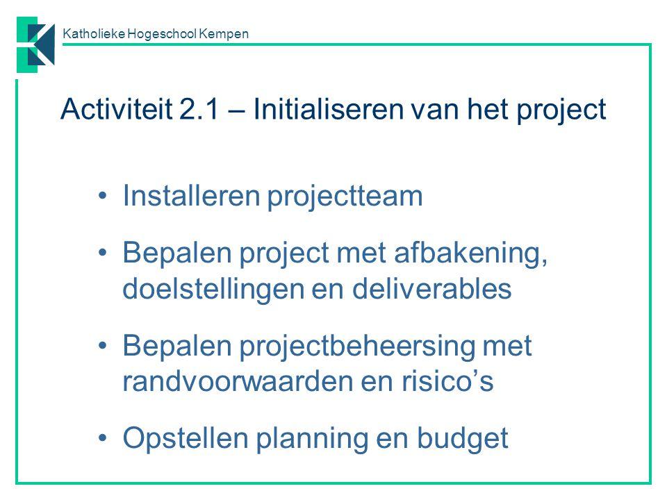 Activiteit 2.1 – Initialiseren van het project