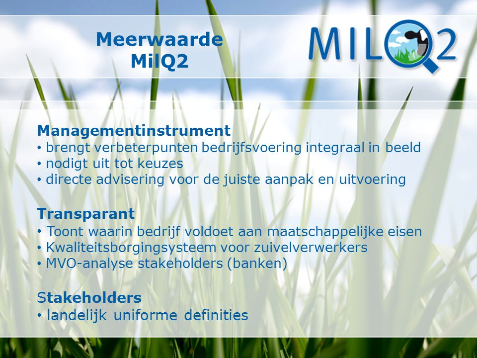 Meerwaarde MilQ2 Managementinstrument Transparant