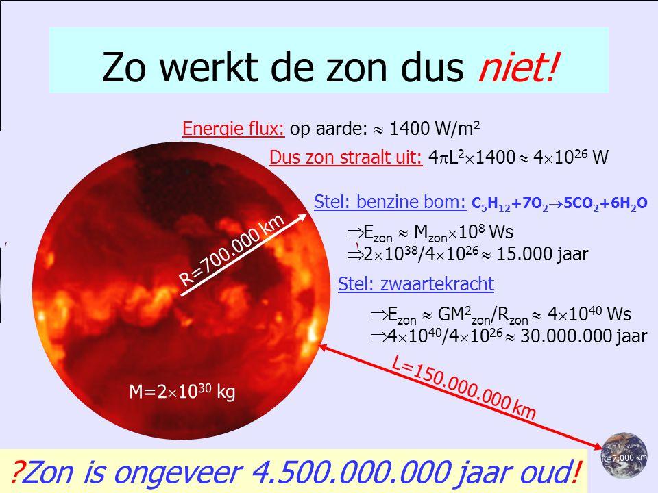 Zo werkt de zon dus niet! Zon is ongeveer 4.500.000.000 jaar oud!