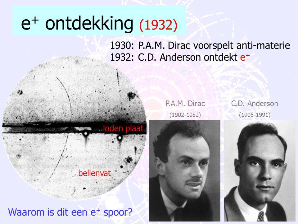 e+ ontdekking (1932) 1930: P.A.M. Dirac voorspelt anti-materie