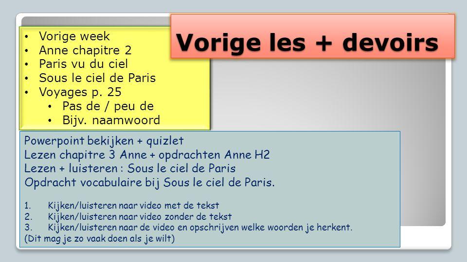 Vorige les + devoirs Vorige week Anne chapitre 2 Paris vu du ciel