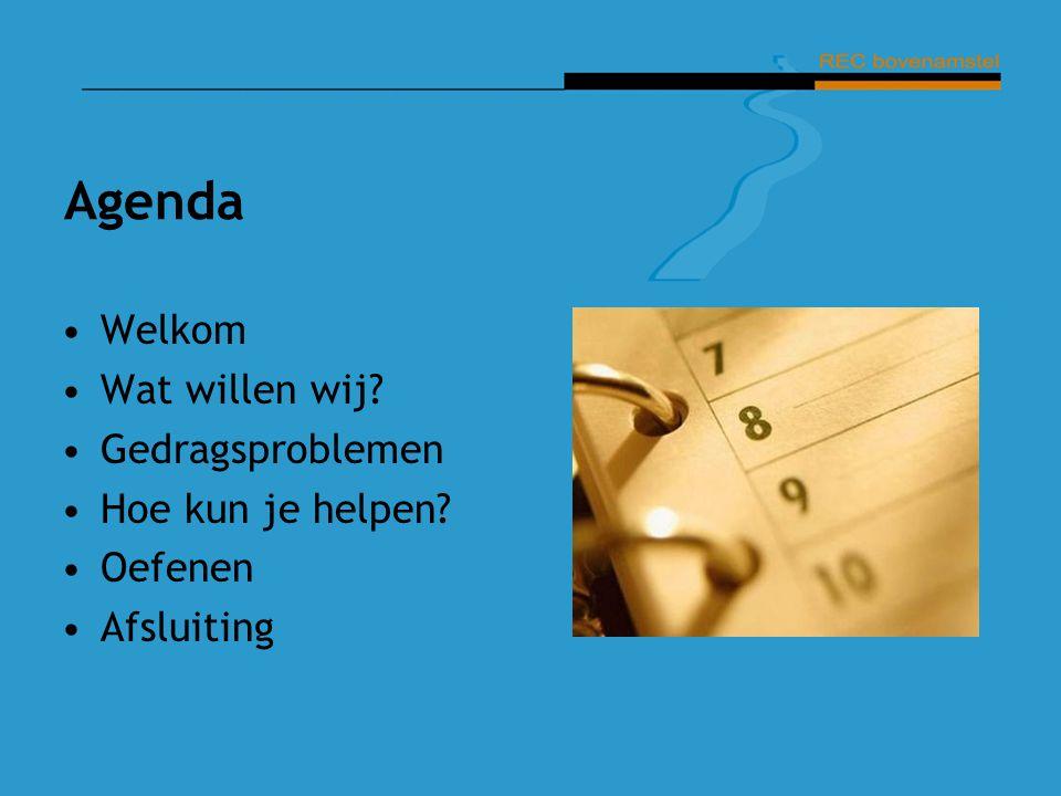 Agenda Welkom Wat willen wij Gedragsproblemen Hoe kun je helpen