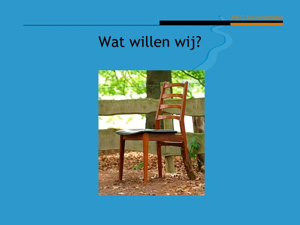 Wat willen wij Op de stoel gaan staan. Kort noemen: