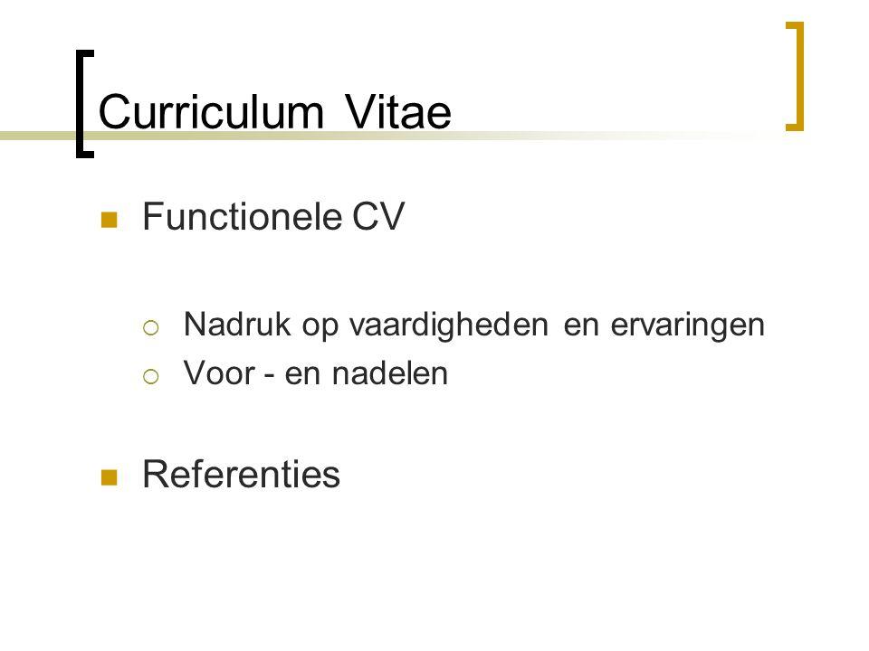 Curriculum Vitae Functionele CV Referenties
