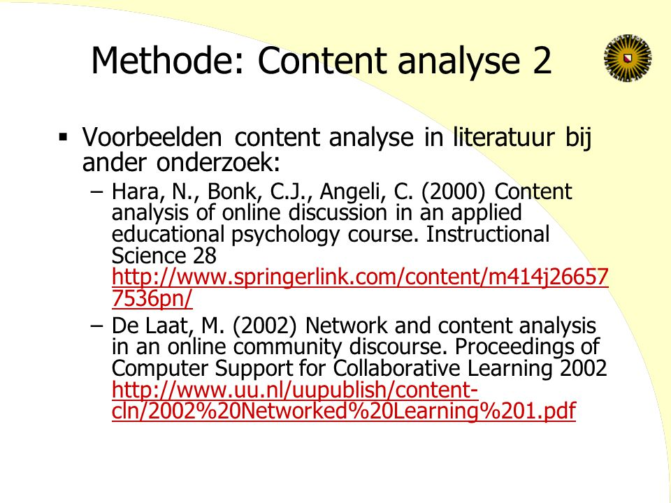 Methode: Content analyse 2